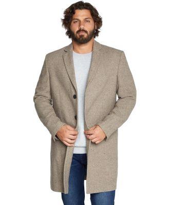 Johnny Bigg Davis Textured Wool Coat Beige 5 Xl