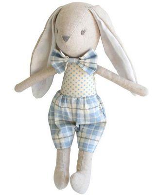 Alimrose - Linen Baby Louie Bunny - Blue