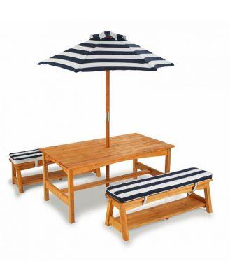 KidKraft Outdoor Table, Bench Set with Cushions & Umbrella NAVY