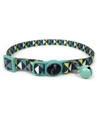 Cattitude Cat Collar with Breakaway Safety Clip & Bell - Geo Mint