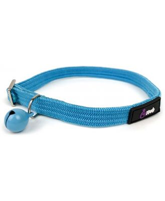 Cattitude Flexi Stretch Safety Cat Collar with Bell - Blue