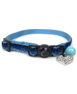 Cattitude Sapphire Sparkle Cat Collar with Breakaway Safety Clip, Bell & Diamante Heart