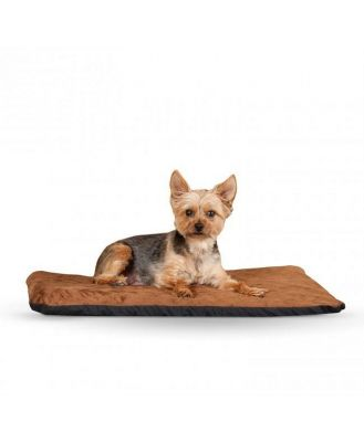 K&H Orthopedic Dual-Thermostat Low-Voltage Heated Pet Bed - Chocolate -