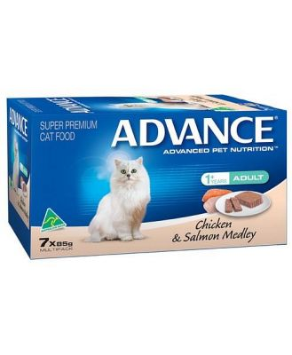 ADVANCE CAT 85G MULTIPACK CHICKEN AND SALMON MEDLEY (7)