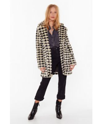Womens Ain't Nothin' But a Houndstooth Faux Fur Coat - White - L, White