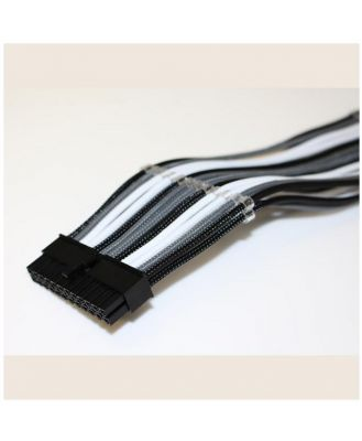 GamerChief Elite Series 24-Pin ATX 30cm Sleeved Extension Cable (Black/White/Grey)