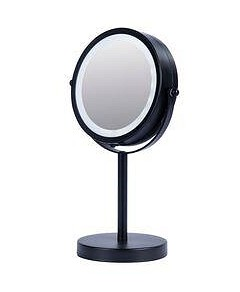 Allure Vogue Illuminated Metal Double Sided Mirror - Black