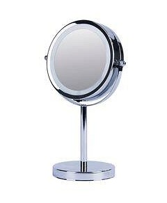 Allure Vogue Illuminated Metal Double Sided Mirror - Silver