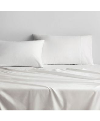 Sheridan 500TC Sateen Fitted Sheet in White/Snow Size: King 50cm Cotton