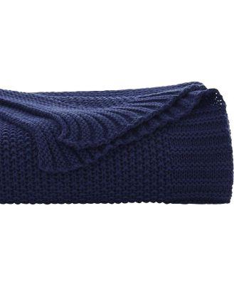 Sheridan Milson Throw in Navy Size: 130cm X 150cm Cotton