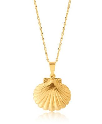 9ct Yellow Gold Silver Filled Sea Shell On Chain 45cm
