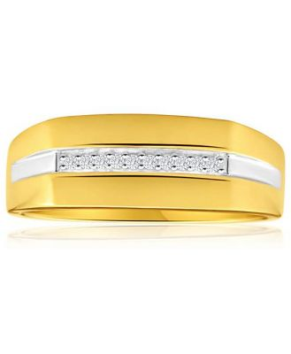 His and Hers Rings 9ct Yellow Gold Ladies Ring With 10 Diamonds