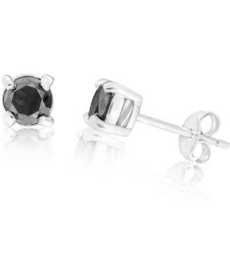 Sterling Silver 3/4 Carat Black Diamond Stud Earrings