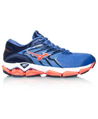 Mizuno Wave Horizon 2 - Womens Running Shoes - Baja Blue/Fiery Coral