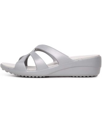 Crocs Sanrah Strappy Wedge Silver White Sandals Womens Shoes Casual Heeled Sandals