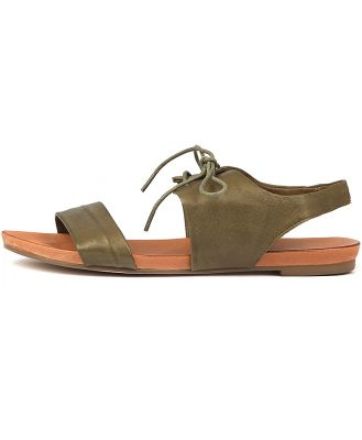 Django & Juliette James Khaki Sandals Womens Shoes Casual Sandals Flat Sandals