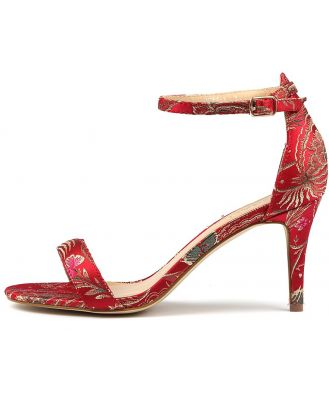 Verali Matthew Red Print Sandals Womens Shoes Dress Heeled Sandals
