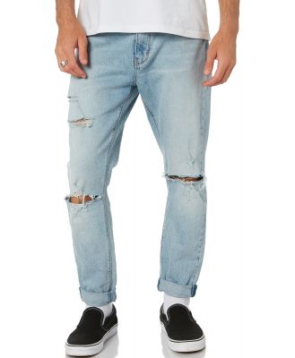 Abrand A Dropped Skinny Turn Up Mens Jean Scuzz Blues