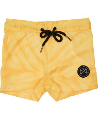 Alphabet Soup Boys Scrambler Boardshort - Kids Yellow Tie Dye