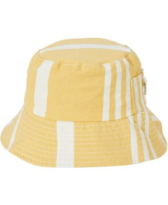 Business And Pleasure Co Bucket Hat Vntg Yellow Stripe