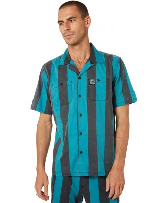 Deus Ex Machina Vertigo Stripe Mens Ss Shirt Tropic Blue