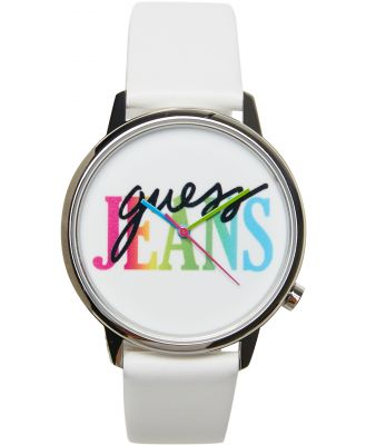 Guess Originals Wilshire + Laurel Leather Watch Silver White