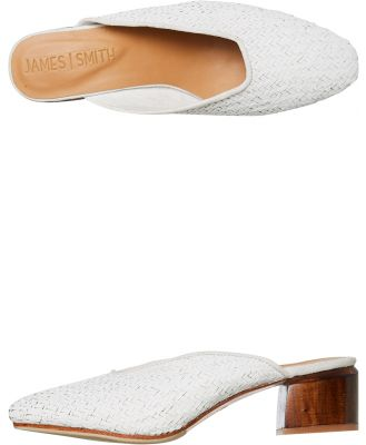 James Smith Womens Cafe Society Mule White Rattan