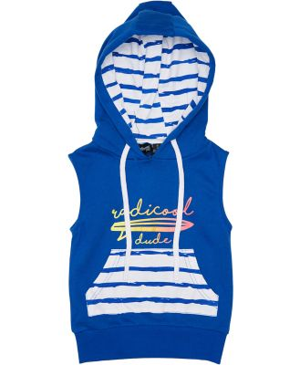 Radicool Dude Boys Longboard Sleeveless Hood - Kids Cobalt Blue