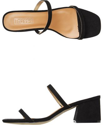 Therapy Womens Goldie Low Block Heel Black Suede