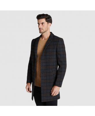 Tarocash Arbury Check Wool Overcoat Charcoal Xl