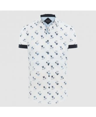 Tarocash Island Palm Print Shirt White Xxl