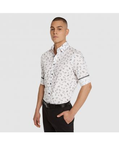 Tarocash Malden Slim Stretch Leaf Shirt White Xxl