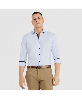 Tarocash Northworld Slim Textured Shirt Sky S