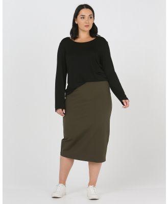 Advocado Plus - Essentail Pencil Skirt - Pants (Olive) Essentail Pencil Skirt