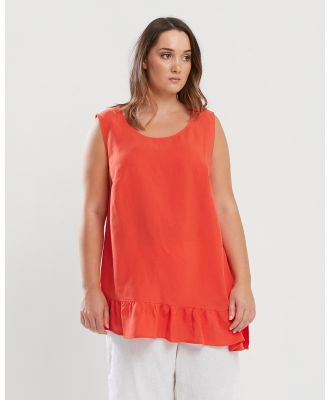 Advocado Plus - Modest Sleeveless Top - Tops (Tangerine) Modest Sleeveless Top