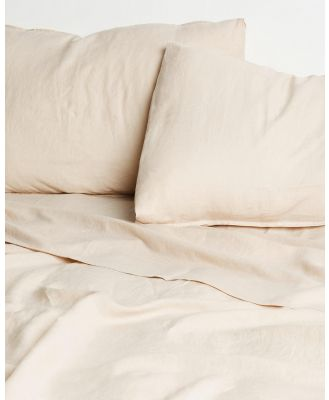 Aere Home - Linen Fitted Sheet  - Home (Oat) Linen Fitted Sheet