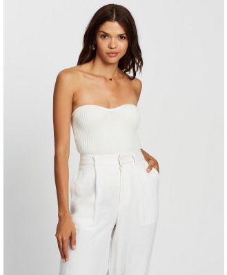 AERE - Strapless Knit Top - Tops (White) Strapless Knit Top