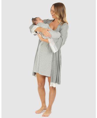 Angel Maternity - 3 Piece Hospital Pack   Nursing Dress + Lace Robe + Baby Wrap Set - Two-piece sets (Grey) 3 Piece Hospital Pack - Nursing Dress + Lace Robe + Baby Wrap Set
