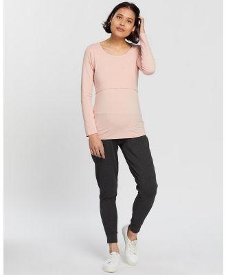Angel Maternity - Pull Up Nursing Top & Lounge Pants Set - Pants (Pink & Grey) Pull-Up Nursing Top & Lounge Pants Set