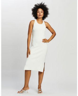 ARIS - Cross Back Knit Dress - Bodycon Dresses (White) Cross Back Knit Dress