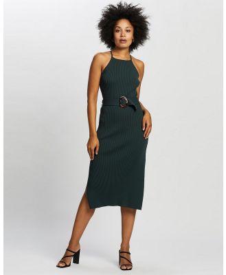ARIS - Halter Knit Buckle Dress - Dresses (Forest Green) Halter Knit Buckle Dress