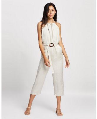 ARIS - Halter Linen Jumpsuit - Jumpsuits & Playsuits (Stone) Halter Linen Jumpsuit