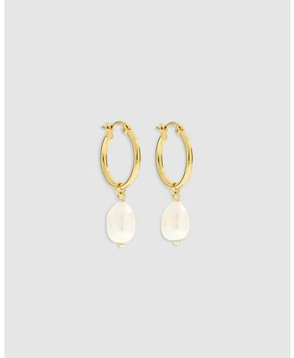 Arms Of Eve - Augusta Gold Hoop & Freshwater Pearl Earrings   Small - Jewellery (Gold) Augusta Gold Hoop & Freshwater Pearl Earrings -