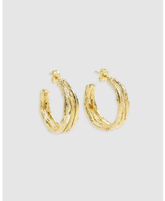 Arms Of Eve - Twigs Gold Hoop Earrings - Jewellery (Gold) Twigs Gold Hoop Earrings