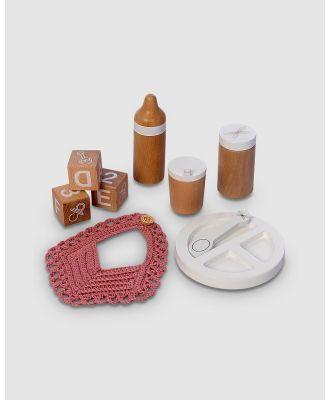 Astrup - Wooden Doll Feeding Set, 9pcs - Wooden Toys (Multi) Wooden Doll Feeding Set, 9pcs