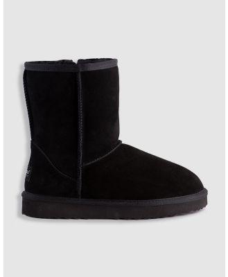 AusWooli Ugg Boots - Bronte Mid Calf Zip Up Sheepskin Boot - Boots (Black) Bronte Mid Calf Zip-Up Sheepskin Boot