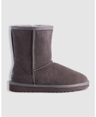 AusWooli Ugg Boots - Bronte Mid Calf Zip Up Sheepskin Boot - Boots (Grey) Bronte Mid Calf Zip-Up Sheepskin Boot