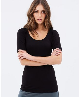Bamboo Body - Bamboo Above Elbow Scoop Tee - T-Shirts & Singlets (Black) Bamboo Above Elbow Scoop Tee