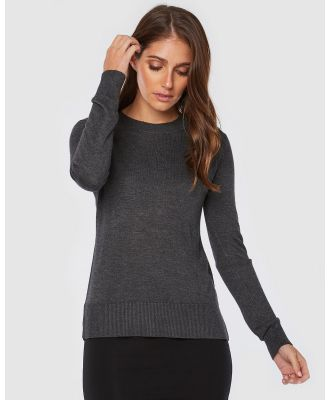 Bamboo Body - Bamboo Crew Neck Knit - Jumpers & Cardigans (Charcoal) Bamboo Crew Neck Knit