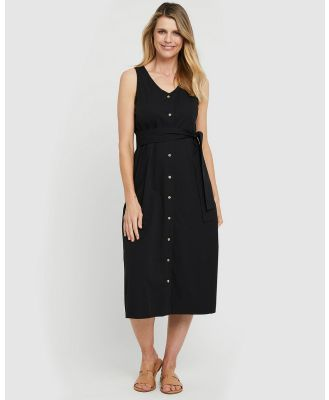 Bamboo Body - Button Front Dress - Dresses (Black) Button Front Dress